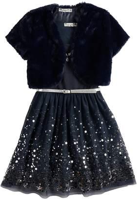 Knitworks Girls 7-16 Skater Dress & Faux Fur Shrug Set