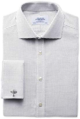 Charles Tyrwhitt Slim Fit Spread Collar Non-Iron White and Black Cotton Dress Shirt Single Cuff Size 16.5/33