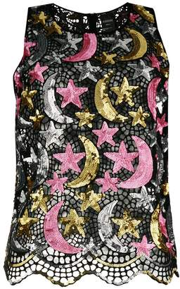 Ashish sequinned star moon tank top