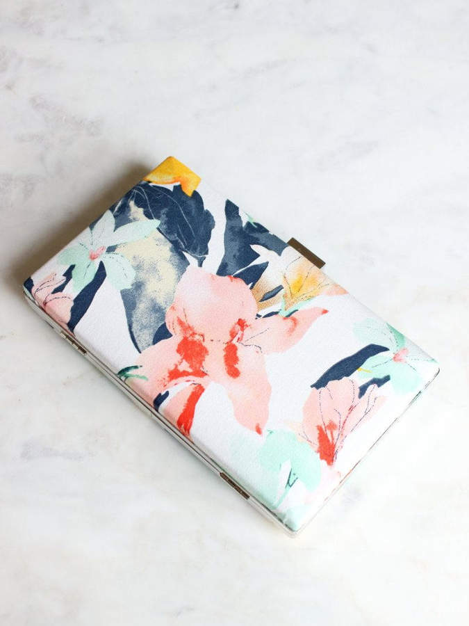 Etsy Floral Clutch | Gold Wedding Clutch | Pink Clutch | Blush Bridal Clutch [Caela Box Clutch]