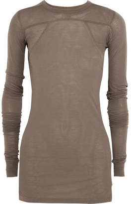 Rick Owens - Ribbed-paneled Stretch-jersey Top - Gray $440 thestylecure.com