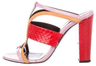 Oscar de la Renta Snakeskin-Trimmed Slide Sandals