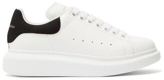 Alexander McQueen Raised Sole Low Top Leather Trainers - Womens - White Black
