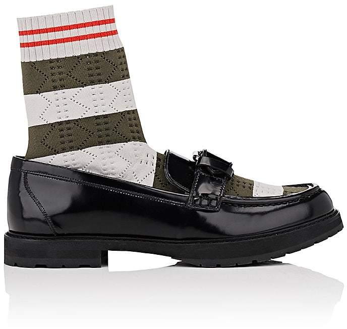 Fendi Women's Sock-Insert Spazzolato Leather Loafers