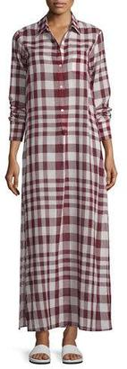 Theory Jinnifield Cotton Plaid Maxi Shirtdress, Red $395 thestylecure.com
