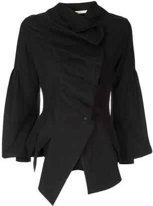 aganovich front ruffles asymmetric shirt