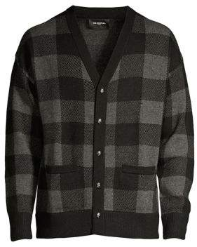 The Kooples Men's Check Wool& Cashmere Cardigan - Charcoal - Size Large