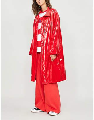 Benetton Unisex logo-print PVC trench coat
