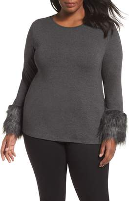 Vince Camuto Faux Fur Cuff Top