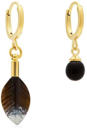 Isabel Marant Scarabe feather and ball mismatched earrings