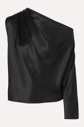 Mason by Michelle Mason One-sleeve Silk-charmeuse Top - Black