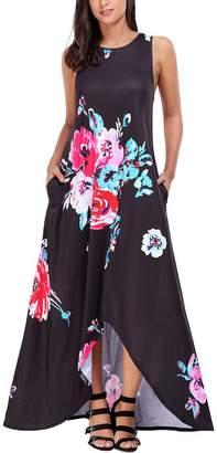 SEBOWEL Juniors Maxi Dress Floral Pocket High Low Slit Summer Long Dress XL