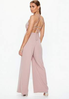 Missguided Mauve Strappy Back Wide Leg Romper