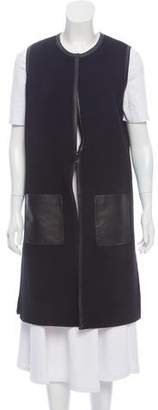 Ralph Lauren Black Label Leather-Accented Wool Vest