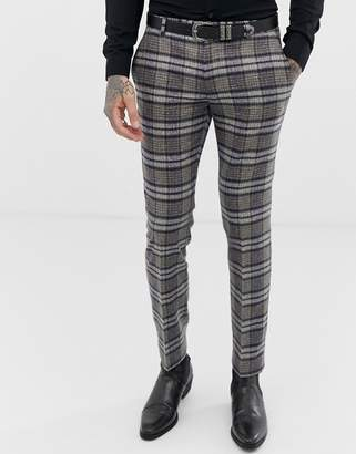 Twisted Tailor super skinny suit pant in speckled tartan