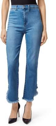 J Brand Stovepipe Fringe Hem Straight Leg Jeans