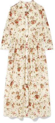 Brock Collection Disco Floral-print Cotton-voile Midi Dress - Cream