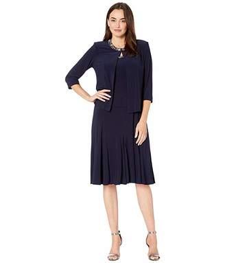 Alex Evenings Petite Tea Length Jacket Dress with Sequin Beaded Trim