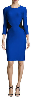 St. John Collection Mauresque Knit 3/4-Sleeve Dress, Azzurine/Caviar $995 thestylecure.com