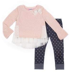 Little Lass Little Girl's Two-Piece Ruffled Sweater & Heart Leggings Set