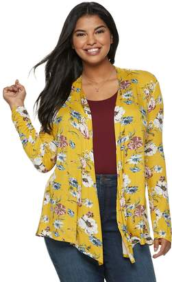 Juniors' Plus Size Liberty Love Floral Long Sleeve Kimono