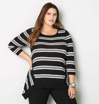 Avenue Striped Sharkbite Sweater