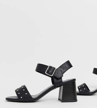 New Look leather look stud low block heeled sandal in black