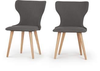 Bjorg Set of 2 Dining Chairs, Manhattan Grey and Oak