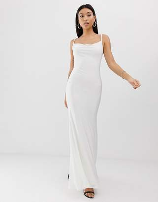 62821b94fa29d Club L London slinky cowl front maxi dress in white