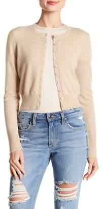 Minnie Rose Frayed Edge Cropped Cashmere Cardigan