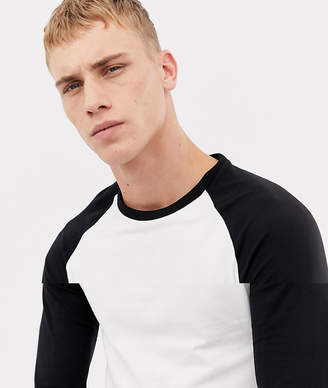 2830b055 Asos Design DESIGN long sleeve muscle fit crew neck t-shirt with stretch  with contrast