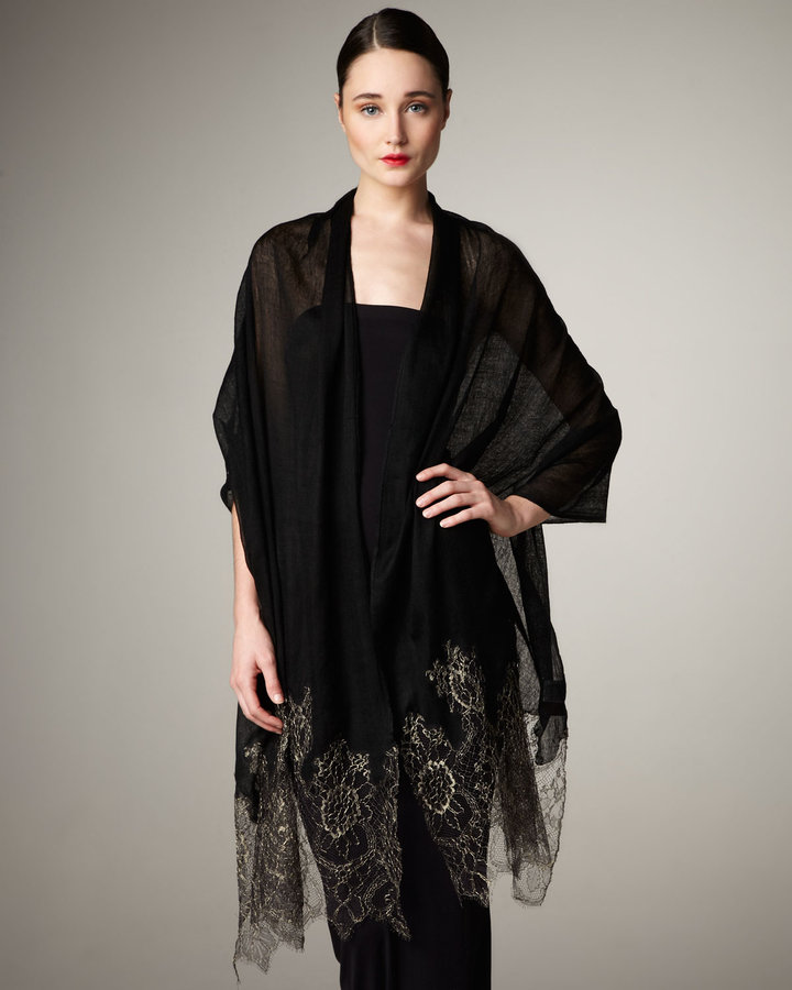 Valentino Metallic Lace Stole, Black