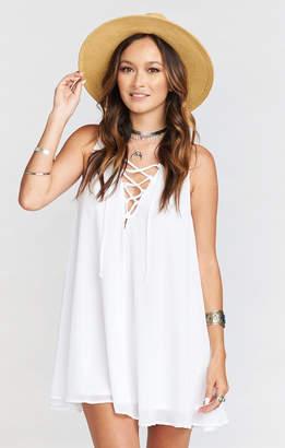 Show Me Your Mumu Rancho Mirage Lace Up Tunic Dress ~ White Chiffon