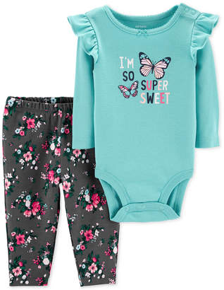 Carter's Baby Girls 2-Pc. Butterflies Bodysuit & Pants Set