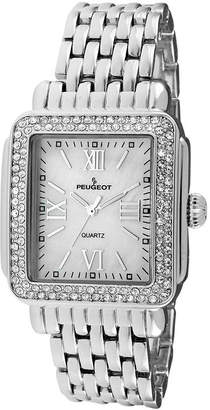 Peugeot Womens Crystal-Accent Silver-Tone Panther-Link Bracelet Watch