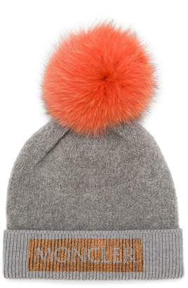 Moncler pompom logo knitted beanie