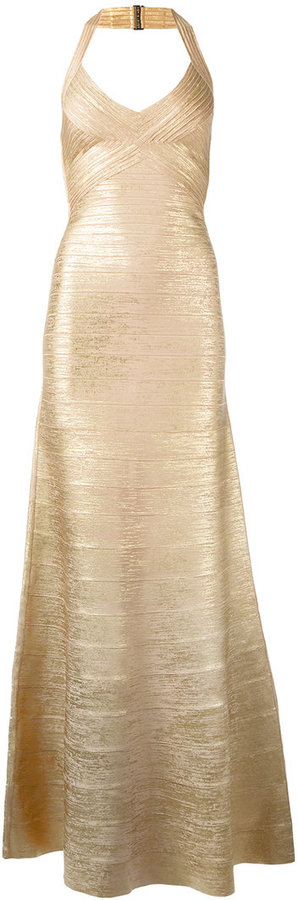 Herve Leger embossed detail evening dress