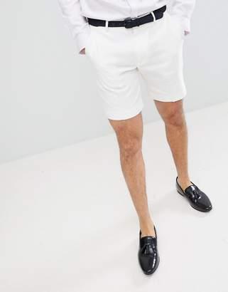 Asos Design DESIGN Slim Mid Length Smart Shorts In White Linen