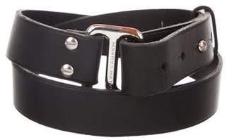 Ralph Lauren Black Label Silver-Tone Buckle Leather Belt