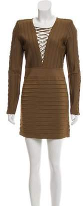 Balmain Lace-Up Bandage Dress