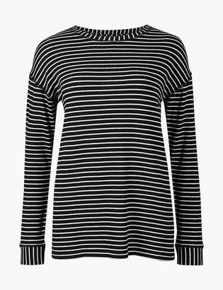 Marks and Spencer Cotton Blend Striped Long Sleeve Sweatshirt