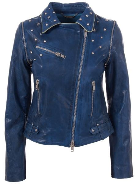 LE SENTIER - Studded blue leather jacket