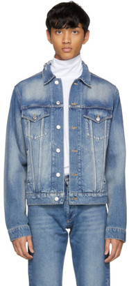 Balenciaga Blue Denim Back Logo Jacket $995 thestylecure.com