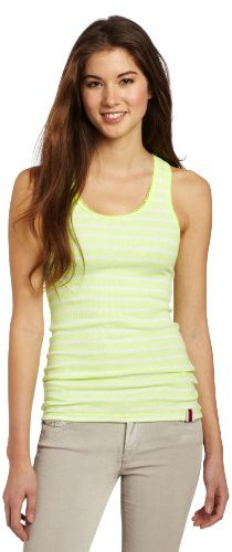 Southpole Juniors Stripe Fashion Racerback Tank Top with Contrast Color Lace Trim