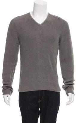 Dolce & Gabbana Raw-Seam Rib Knit V-Neck Sweater