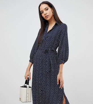 Fashion Union Tall midi shirt dress in smudge spot