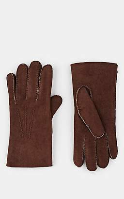Barneys New York MEN'S SHEARLING-LINED LEATHER GLOVES - MED. BROWN SIZE 9