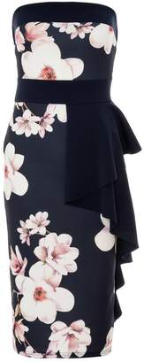 Quiz Navy And Cream Floral Ruffle Dress