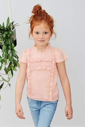 Next Girls Pink Textured Ruffle Blouse (3-16yrs)