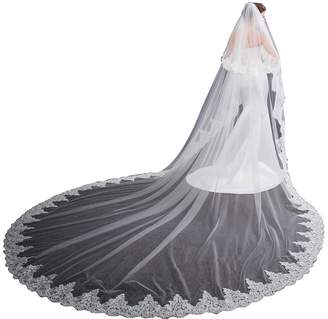 EllieHouse Women's 2 Tier Cathedral Lace Ivory Wedding Bridal Veil With Comb HL08IV
